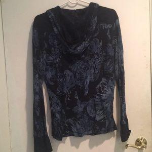 Calvin Klein Jeans Tops - Blue Printed Hooded Top